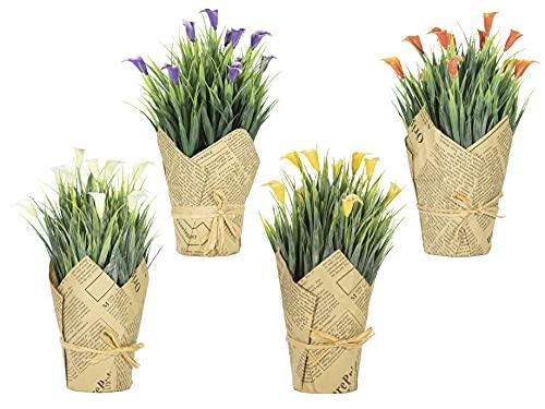 Mussoa Pack 4 Uds. Plantas Artificiales Decorativas, Flores Artificiales en Maceta, Decoración para Hogar, Oficina, Baño, Cocina, Exterior e Interior