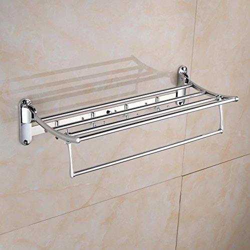 QUEEN'S El mejor almacenamiento de baño Toalla de baño de acero inoxidable soporte de óxido colgando baño Toallero Estante de cristal escamoteable