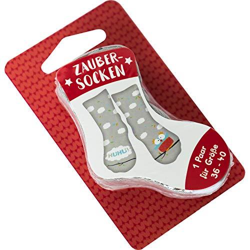 Die Geschenkewelt Happy Life 45592 Zauber-Socken Huhu, Tier-Motiv mit Eule Geschenk-Artikel, 80% Baumwolle, 15% Nylon, 5% Elastan, Grau, Größe 36-40