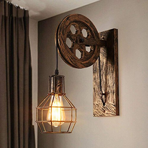 Wandleuchte E27 Retro Iron Wandlampe Antik Industrial lampe Innen Landhausstil Wand Lampe (Schwarz)
