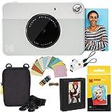 Kodak Printomatic Instant Camera (Grey) Deluxe Bundle + Zink Paper (20 Sheets) + Deluxe Case + Photo Album + Hanging Frames + Comfortable Neck Strap