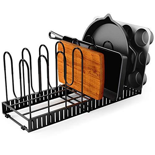 GeekDigg Pot Organizer Rack for Cabinet Expandable 8 Pans Pots Lid Organizer Rack Holder Adjustable Kitchen Cabinet Pantry Countertop Bakeware Organizer Rack Holder with Anti-scratch Rubber Coating