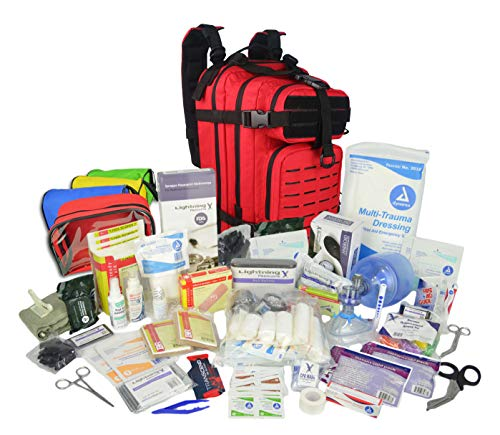 Lightning X Stocked EMS/EMT Trauma & Bleeding First Aid Responder Medical Backpack + Kit + Pouches - RED