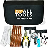 Heavy Duty Tire Repair Kit for Car Bike Motorcycle Trailer RV UTV Jeep Truck Tractor with Quality Tire Pressure Gauge, Gloves - Flat Tire Plug Tubeless Kit - Emergency Puncture Repair Patch Kit