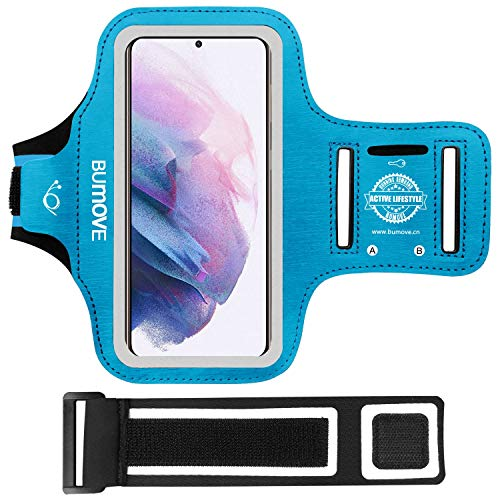 Galaxy S21 Plus, S20 FE, S20 Plus, S10 Plus Armband, BUMOVE Gym Running Workouts Sports Cell Phone Arm Band for Samsung Galaxy S21+ 5G/S20 fe/S20+/S10+ with Key Holder (Blue)