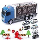 Lihgfw Kinder Container Truck Big LKW Spielzeug Bagger Feuerwehrauto Legierung Auto Modell Jungen Inertial Engineering Fahrzeug Set Geschenk für Kinder 35cm (Color : Dunkelblau)