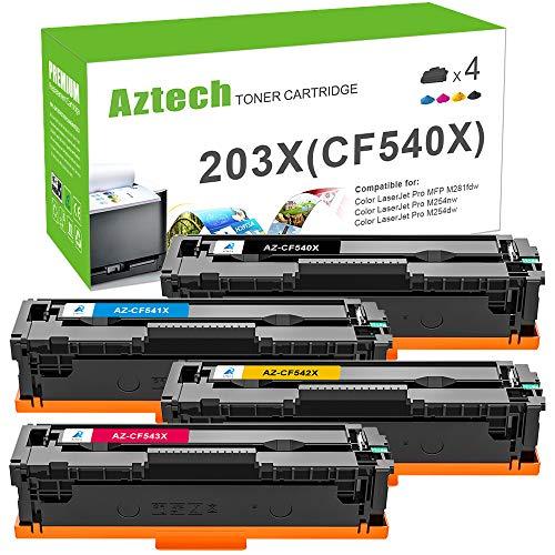 Aztech Kompatibel 203X 203A Toner Cartridge Replacement für HP Color Laserjet Pro MFP M281fdw M254nw M254dw M281fdn M280nw HP M281 M254 M280 für HP CF540X CF540A CF541X CF542X CF543X Toner
