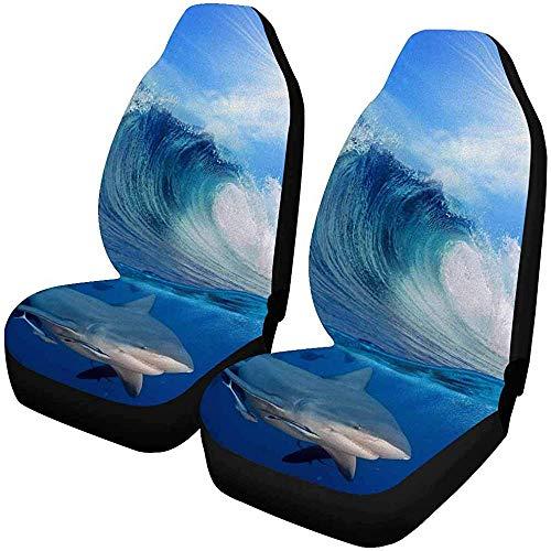 Set van 2 Autostoelhoezen Kaart Blauw Topografisch Patroon Isolines Oceaan Topografie Waterkaart Universele Auto Voorstoelen Beschermer 14-17IN