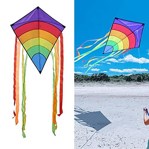 Drachen Flugdrachen Einleiner, Easy Flyer Regenbogendrachen Bastelset für Erwachsene Leichtes Fliegen im Freien bei starkem oder leichtem Wind in 29*25.5Zoll mit 328 Fuß Drachenschnur(Farbe 1)