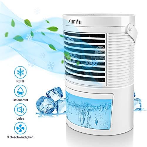 ZumYu Mobile Klimageräte Mini Air Cooler 5 in 1 Leise Klimaanlage Luftbefeuchter Luftkühler Verdunstungsgerät Tischventilator Nachtlicht mit Wasserkühlung 3 Geschwindigkeiten 7 Farben LED