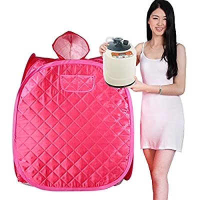 Smartmak Portable Steam at Home Sauna, Personal Full Body Spa Tent with Remote Control 2L Steamer for Detox & Weight Loss Lightweight One Person Indoor (Pink)