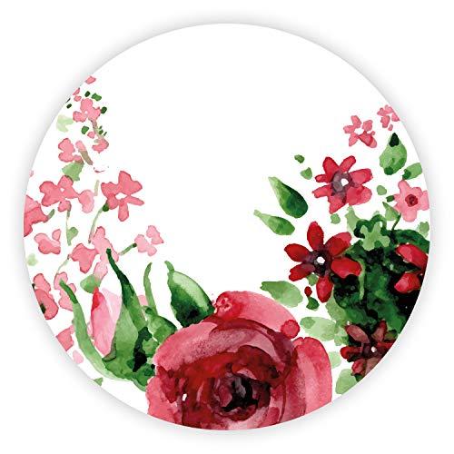 4er Getränke-Untersetzer-Set mit Rosen Motiv I Ø 10 cm I Aquarell-Optik für Tasse Becher Glas I rund rutschfest I dv_705