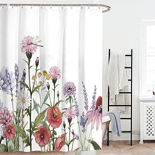 AONIONER Floral Shower Curtain Colorful Flowers Shower Curtain Boho Shower Curtain Watercolor Wild Herb Plants Bath Curtain Fabric Decorative Shower Curtain for Bathroom H70×W59