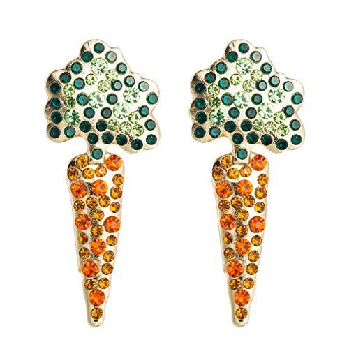 SeniorMar-UK 1 par de Pendientes en Forma de Zanahoria a Juego con el Color, Pendientes de aleación, Regalos creativos para Mujeres, adecuados para niñas, Verde + Naranja