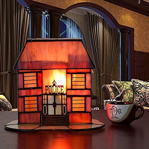 Lámpara de mesa de estilo de mini tiffany creativo, lámpara de escritorio encantadora de escritorio de la lámpara de vidrio de la casa de la casa de la mesa de la mesa de la mesa de la mesa de antigüe