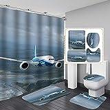 Badematten Set 3 Teilig Badezimmer Wc Vorleger U-Förmiges rutschfeste Matte Toilettenmatte Duschvorhang Textil Saugfähig Vierteiliges Flugzeug-gj441_120 x 180