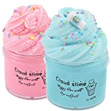 HUNDUN 2 Pack Cloud Slime Blue and Pink Cloud Slime Supplies Stress Relief Toy Scented DIY Putty Sludge Toy Gifts for Girls and Boys (Blue&Pink)