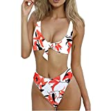 Baolifeng Women's Tie Knot Front High Waist Swimwear Bathing Suit Tulip Printed Two Piece Cut Out Bikini Set (S) White