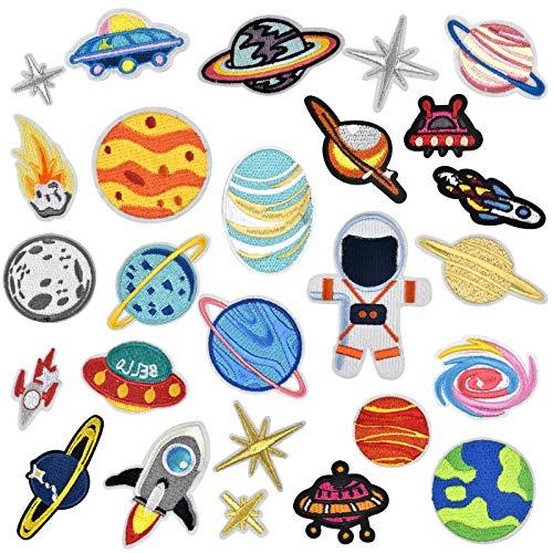 AvoDovA 26 Piezas Parche Termoadhesivo, Astronauta Parche, Planeta Espacio Parche Bordados, Parches para Ropa, Costura de Apliques Decoración DIY para Jeans Chaquetas Mochila Gorras