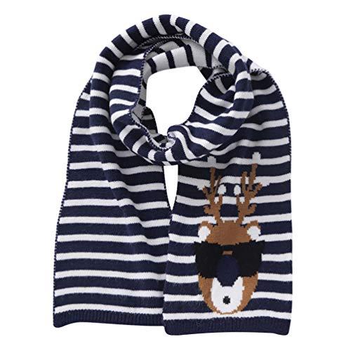 Amosfun Kerst Sjaal voor Kinderen Herten Geborduurde Halsdoek Unisex Jongens Meisjes Kerstcadeau voor Kid Kind Kinderen Kinderen Rood 130 * 15CM marineblauw