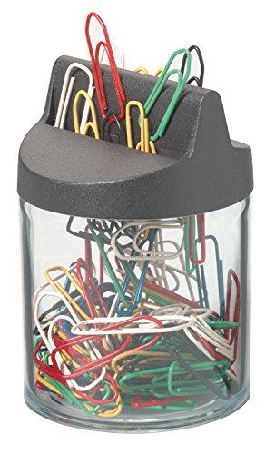 Durable 124000 dispensador de clips con imán de 1 pieza y 125 clips, 26 mm, negro / transparente
