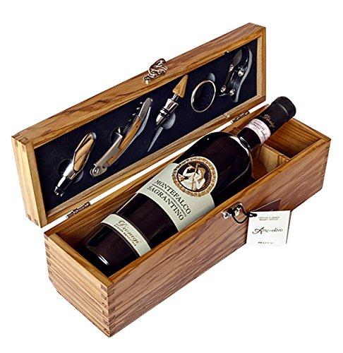 Wood&Design Cofanetto Porta Bottiglia di Vino in pregiato Legno d'olivo Italiano, Made in Italy con Accessori da Sommelier - per Amanti del Vino-