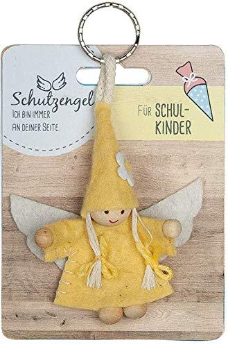 GILDE - 42647 - Schutzengel, Schlüsselanhänger, Wichtel, Für Schulkinder, Filz und Holz, 9cm, orange