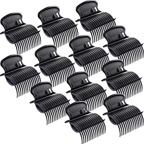 POFET 12 Stück Hot Roller Clips Lockenwickler Klauenclips Ersatz Roller Clips Für Frauen Mädchen Haar Abschnitt Styling - Schwarz