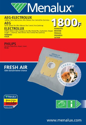 Menalux 1800F, 3 Staubbeutel für AEG, Electrolux, Philips, Hanseatic, Privileg, Satrap, Tornado, Volta und MIO Star