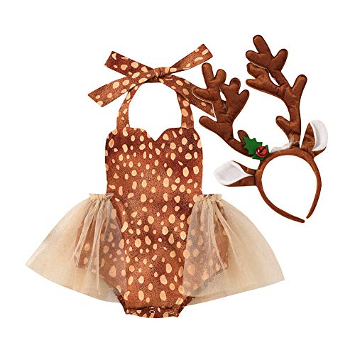 Newborn Baby Girl Christmas Outfit Sleeveless Halter Polka Dot Lace Tutu Romper Jumpsuit Reindeer Antlers Headband (Brown,9-12 Months)