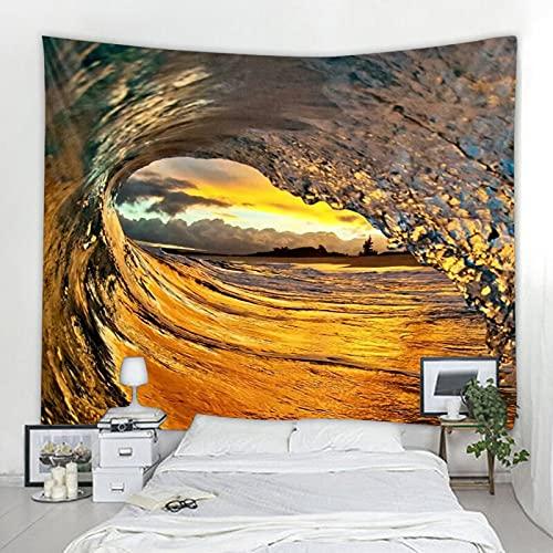 Tapiz decorativo de olas de agua de mar con paisaje nórdico, tapiz Art Deco, manta de fondo, tela colgante A2 100x150cm