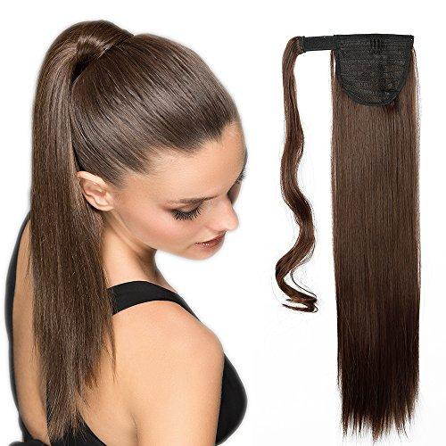 Ponytail Clip in Pferdeschwanz Extension Haarteil Haarverlängerung Zopf Hair Piece Glatt wie Echthaar Mittel braun Glatt-26