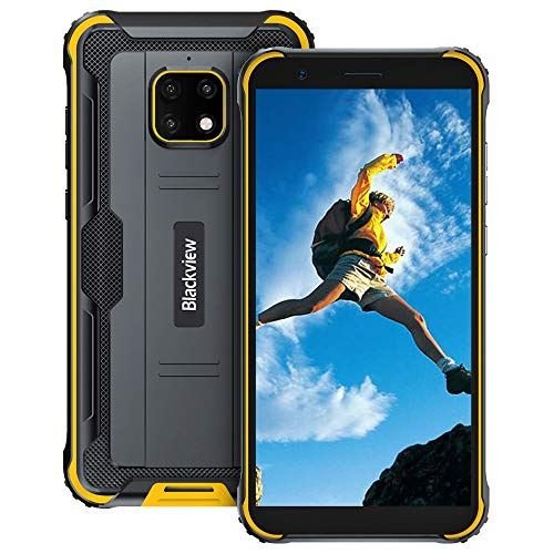 Móvil Resistente, Blackview BV4900 Pro Android 10, 5.7' HD+, 4GB+ 64GB, Batería 5580mAh Teléfono Robusto, IP68 Impermeable Smartphone 4G, 13MP+5MP, Dual SIM, GPS, NFC, OTG- Amarillo