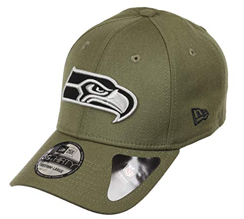 New Era Seattle Seahawks 39thirty Stretch Cap - Heather Essential - Heather Olive - S-M (6 3/8-7 1/4)