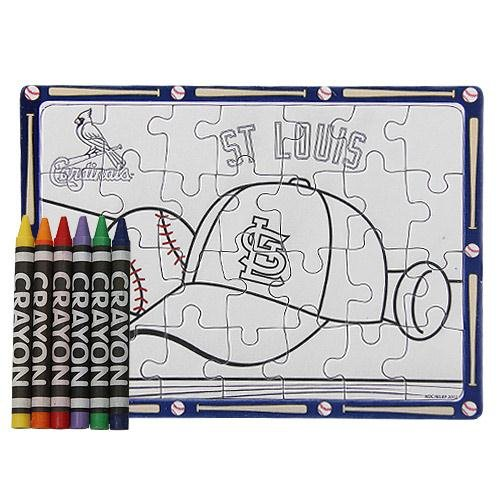 Football Fanatics MLB St. Louis Cardinals Color Your Own Puzzle & Crayons Set
