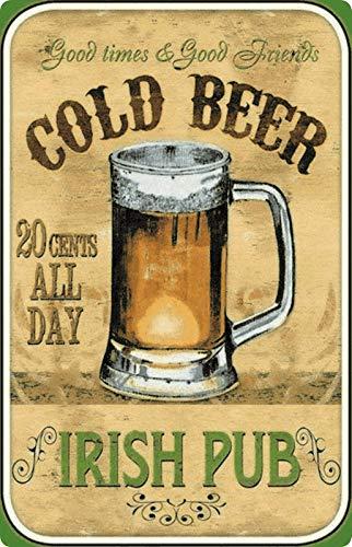 Cartel de Chapa, 20 x 30 cm, Cartel de Cerveza de Cold Beer Irish Pub Kneipe