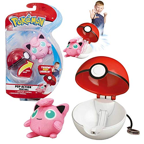 Mini Plush Figure with Pokeball | Pokemon | Action Set | Soft Toy, Plush:Jigglypuff