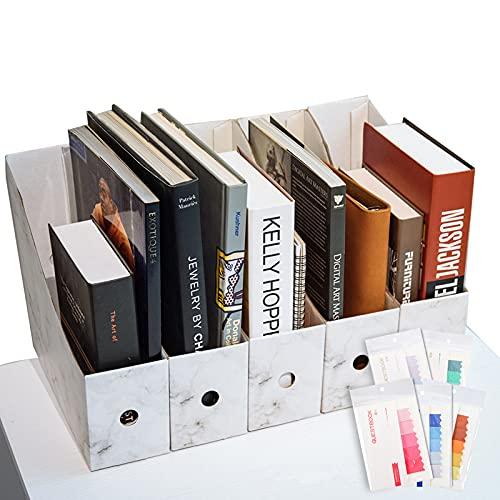 CAVEEN Revistero Archivador de la Oficina Cartón Caja de Almacenamiento con Cédula Organizador de Documentos Papelería Revista Lápices Accesorios de Escritorio Cinco Piezas
