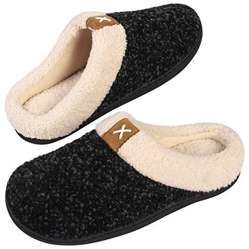 Men's Comfort Memory Foam Slippers Wool-Like Plush Fleece Lined House Shoes...