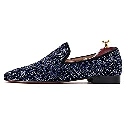 Blue Crystals Black Suede Loafer Flat Slip-on Shoes