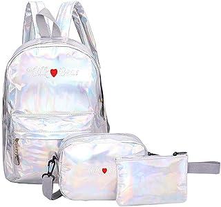 chinatera Backpack for Teen Girls, Women Teen Girls PU Leather 3pcs Set College Bag Student Bookbag Laptop Backpack Travel Daypack Rucksack with Shoulder Bag and Pencil Case