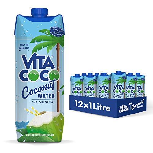 Vita Coco Eau De Coco Pur, Naturellement Hydratante, Remplie Délectrolytes, Sans Gluten, Plein De Vitamine C Et De Potassium, Noix de Coco, 1L, Lot de 12
