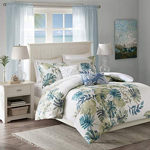 Harbor House Cotton Duvet Set-Coastal, Beach Cottage Design All Season, Breathable Comforter Cover Tropical Bedding, Matching Shams, King(106u0022x90u0022), Monstera Leaf Green 5 Piece