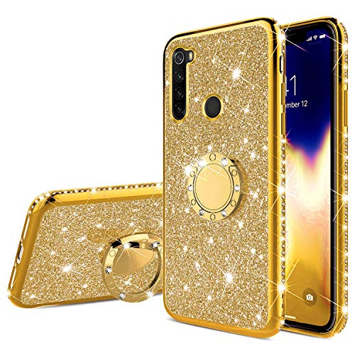 JAWSEU Purpurina Funda Compatible con Huawei P40 Lite, Brillante Brillo Suave Silicona Funda con Anillo 360 Grados Rotación Ultra-Delgada Enchapado Glitter Diamantes Bumper Protectora Carcasa,Oro