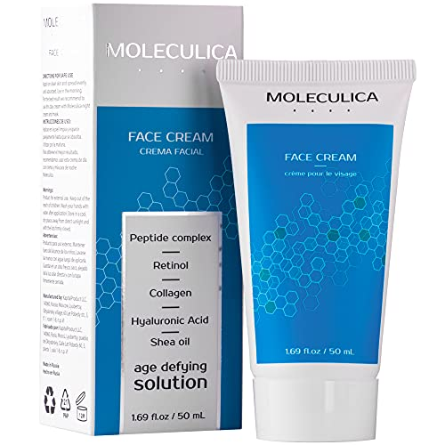 Moleculica Day Face Cream | Daily Facial Moisturizer with Retinol | Natural Formula with Retinol, Hyaluronic Acid, Collagen, Shea oil | Firming Cream to Smooth Wrinkles & Fine Lines – 50ml
