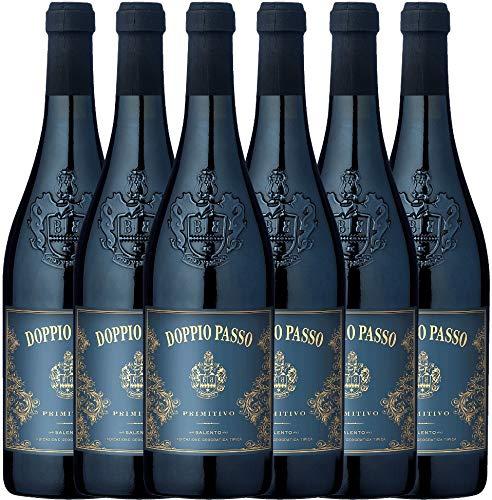 VINELLO 6er Weinpaket Primitivo - Doppio Passo Primitivo 2019 - Carlo Botter mit Weinausgießer | halbtrockener Rotwein | italienischer Wein aus Apulien | 6 x 0,75 Liter