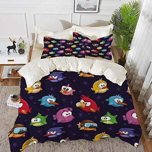 Juego de cama, microfibra,Divertida, Angry Flying Birds Figura con varias expresiones Juego Toy Kids Babyish Artsy Image, Multicolor,,1 juego de funda nórdica 135 x 2002 fundas de almohada 50x