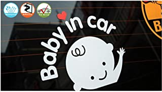 Baby in Car Decal Funny Baby on Board Sticker for Cars, Removable Car Sticker Baby on Board, Reflective Waterproof, White