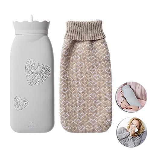 HJHY@ Warm Silikon Wärmflasche Explosionssicher Handwärmer Mikrowelle Premium Natur Bettflasche Mit Strickbezug Für Körper Hand Eisbeutel,für Schmerzlinderung,Winter WeihnachtsgeschenkL