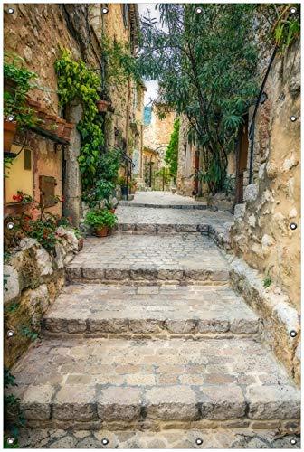 Wallario Garten-Poster Outdoor-Poster, Alte steinerne Gasse in Südfrankreich in Premiumqualität, für den Außeneinsatz geeignet